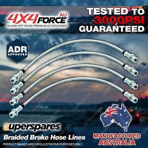 4x Front + Rear Braided Brake Hoses Lines for Mitsubishi Triton ML MN 06-on