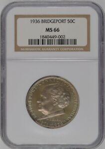1936 U.S. 50¢ - Bridgeport Comemmorative Half Dollar - NGC MS66