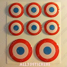 8 x Roundel Cockade France French 3D Stickers Resin Domed Adhesive Air Force