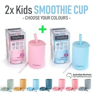 2x Smoothie Cups for Kids, Training learning Drink Cup with Lid & Straw, no BPA