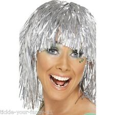 Womens 70s Cyber Tinsel Wig Silver Disco Fancy Dress Night Fever Pop Star Colour
