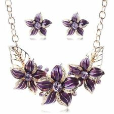 New Gold Toned Purple Flower Light Purple Rhinestone Bib Necklace Earring Set