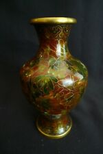 Vintage Japanese Japan Cloisonne Vase Rare Fall Muted Colors On Brass Exc Condtn