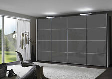 GERMAN MIAMI 200 SLIDING WARDROBE BEDROOM FITTED FREE BLACK WHITE GRAPHITE GLASS