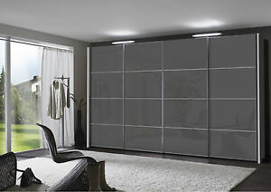 DESIGNER GERMAN 150CM SLIDING WARDROBE BEDROOM FITTED FREE GREY WHITE TEMPLATE