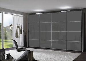 GERMAN MIAMI 200 SLIDING WARDROBE BEDROOM FITTED FREE BLACK WHITE GRAPHITE GLASS