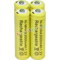 4 x AA 3000mAh 1.2V Rechargeable Battery Bulk Nickel Hydride NI-MH  Yel
