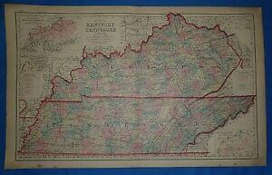 1839 KY MAP Cumberland City Falls Cunningham Cutshin Daisy Kentucky History HUGE