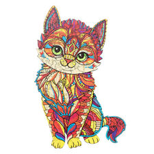 Amazing Wooden Jigsaw Puzzle Magic Cat Unique Shape Ideal Gift Adults Kids Toys