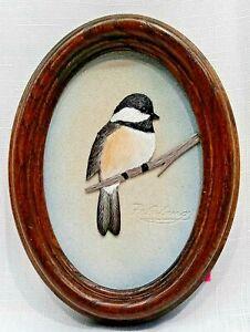 Felsburg Wildlife Leather Carving Sculpture Chickadee Oval Framed Signed Art