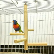 Pet Detachable Raw Stand Rack Parrot Wood Fork Toy Branch Perche For Bird Cage