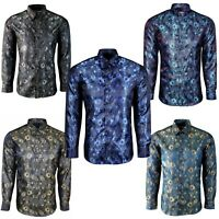 Mens Shiny Silk Feel Smart Casual Dress Floral Holiday Casual Shirt 411-N