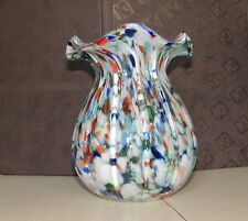 Vintage Italian Glass Vase Wavy Rim Ribbed Multi-color Spatter 7 1/2""