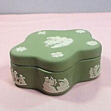 "Wedgewood Jasperware 5-point trinket box/dish & lid green England 3.75"" ᵇ p2"