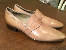New! HUGO BOSS Beige Brown Leather Point-Toe Penny Loafers Shoes US Size 8 ITALY