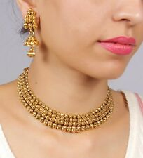 1952 Indian Fashion Jewelry necklace set Bollywood Gold plated traditional Set