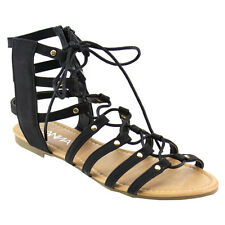 Women's Lace Up Studded Strappy Side Zip Flat Gladiator Sandals Size 6 BLACK