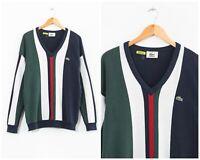 90s Vintage Mens LACOSTE V-Neck Sweater Jumper Knitted Green Blue White Size L
