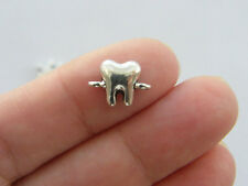 10 Tooth connector charms antique silver tone MD38