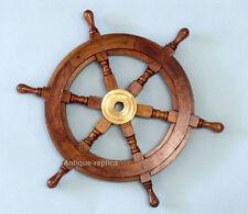 "Wooden Boat Ship Steering Wheel Fishing Net Home Wall Nautical Decor 24"""