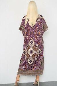 Ladies Long African Kaftan Dress Dashiki Print Pockets 100% Cotton One Size 005