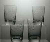 LEAD CRYSTAL ETCHED GLASSES/TUMBLERS SET OF 4