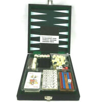 Leeds Magnetic Travel Game Set Backgammon Chess Cribbage Dominoes Checkers Poker