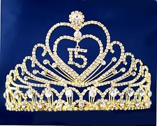 Clear Gold Quinceanera Tiara Crown Sweet 15 Diadem Mis Quince Anos with Combs