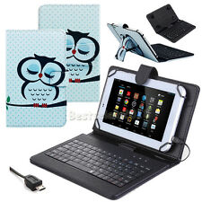 """PU Leather Case Cover with Micro USB Keyboard For 7"""" 8"""" Tablets Android Windows"""