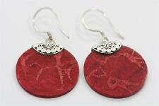 Genuine Red Coral w Sterling Silver Setting Handmade Bali Dangle Round Earrings