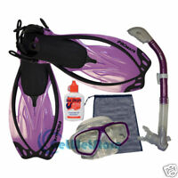 Snorkeling Scuba Dive Mask Dry Snorkel Fin Bag Gear Set