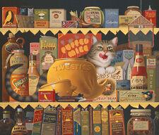 Charles Wysocki ETHEL THE GOURMET, Anniversary giclee canvas, TABBY CAT #7/200