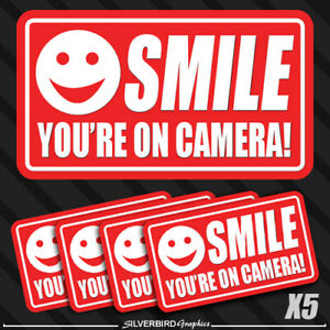 5 pack smile you're on camera stickers video security system warning alarm decal