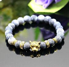 Hot Leopard Head Man's Beaded Bracelets Lava Rock Stone Beads Energy Bracelet
