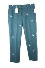 BROOKS BROTHERS Men's TEAL EMBROIDERED BIRDS CLARK CASUAL PANTS Size 36/32