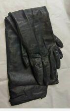 Warmen ladies long leather gloves in black - Size L