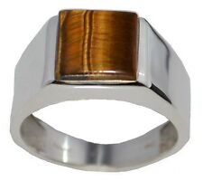 925 Sterling SILVER Natural Tigers Eye Mens Ring Gents Sizes M (6) upto Z+5 (15)