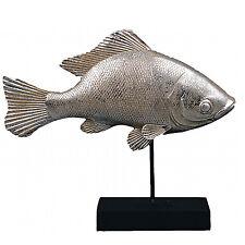 Pescado Escultura en Base Estatua PLATA Figura MARÍTIMO Arte Objeto Decorativa