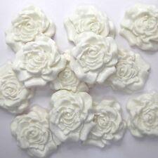12 White Roses edible sugarpaste flowers wedding cake cupcake sugar decorations
