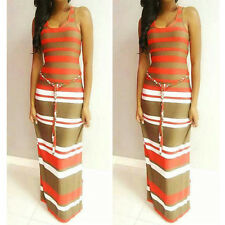 Fashion Womens Striped Boho Long Maxi Evening Party Dress Beach Sundress S LZF03