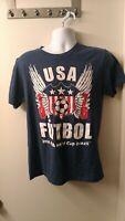 FIFA  World Cup Football Brasil 2014 Team USA Soccer T-Shirt Blue Futbol Medium