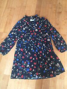 Zara Girls Black Floral Long Sleeve Dress Size 10