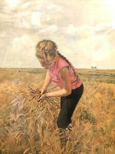 """""""Lundy in the Wheat"""" by Lunda Hoyle Gill Offset Print 1973 Signed  #  35""""T x 31"""""""