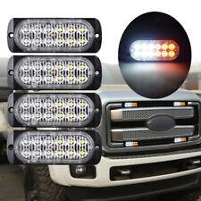 4x Amber Cree 12LED Recovery Strobe Flashing Warning Light Lamps Grill 12V/24V
