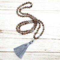 BENAVA Damen Mala Kette aus 108 Jaspis Edelstein Perlen Handmade Boho Schmuck