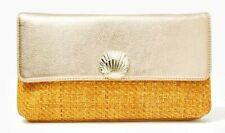 $158 NEW Lilly Pulitzer Cheyenne Leather Clutch Gold Metallic Bag Straw Beige