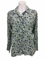 J.Jill Floral Shirt Size M Blouse Button Down Top Rayon Blue Green Long Sleeve