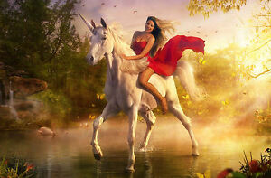 Framed Print - Woman in Red Dress Riding a White Unicorn (Picture print Art)