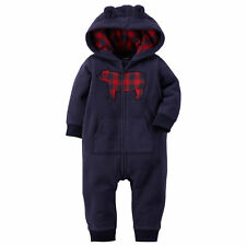 Boys Carter's Fleece Jumpsuit Coverall Onepiece Romper Blue Plaid Bear Ears 18M