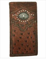 Texas Long Horn Mens Wallet Western Bifold Check Book Style W069-14 Brown